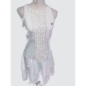 NIKE WOMEN'S ruffle front tennis dress M white